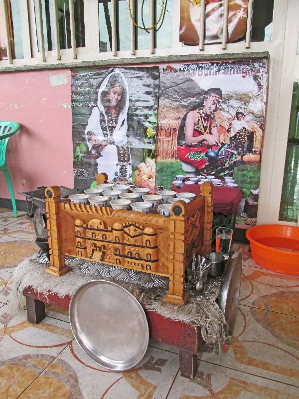 Traditional Ethiopian Coffee Preparation Table And Set Up