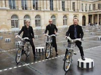 Sting, Stewart Copeland and Andy Summers of The Police, bicycling