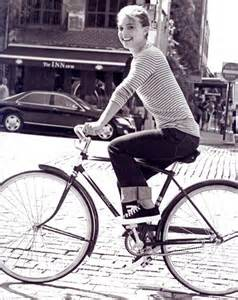 Audrey Hepburn bicycling