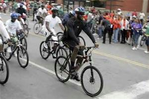 LaBron James bicycling