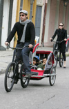 Angela Joli and Brad Pitt bicycling