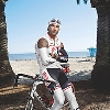 Shemar Moore bicycling