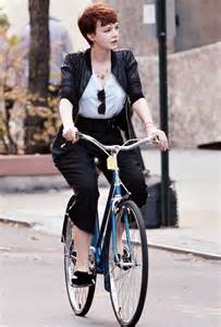 Carey Mulligan bicycling