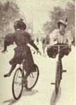 Women bicycling in bloomers in the late 19th century.